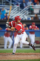 Batavia Muckdogs catcher Jarett Rindfleisch (44) at bat during a game against the Aberdeen Ironbirds on July 15, 2016 at Dwyer Stadium in Batavia, New York.  Aberdeen defeated Batavia 4-2. (Mike Janes/Four Seam Images)