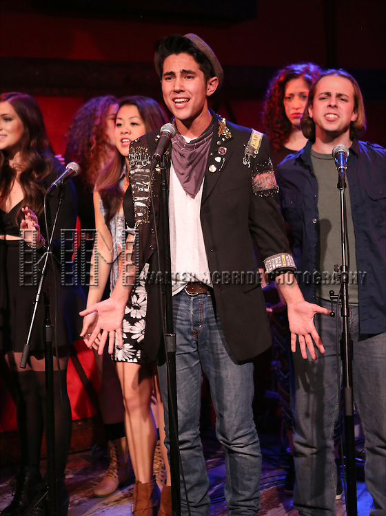 Marco Ramos with the cast of 'One Day - The Musical' performing a sneak peek of the new pop-rock Musical at Rockwood Music Hall on January 28, 2015 in New York City.