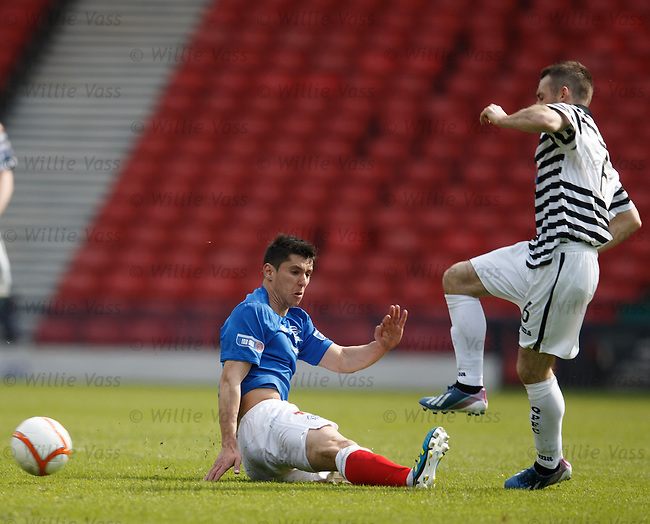 Anestis Argyriou gets the ball and the man