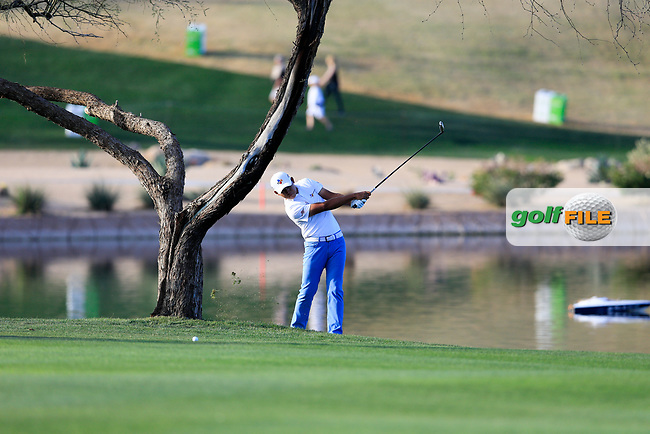 Si Woo Kim (KOR) on the 15th fairway during the 2nd round of the Waste Management Phoenix Open, TPC Scottsdale, Scottsdale, Arisona, USA. 01/02/2019.<br /> Picture Fran Caffrey / Golffile.ie<br /> <br /> All photo usage must carry mandatory copyright credit (&copy; Golffile | Fran Caffrey)