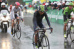 Race leader Nairo Quintana (COL) Movistar Team crosses the finish line of Stage 4 of the 2016 Tour de Romandie, running 173.2km from Conthey to Villars, Switzerland. 30th April 2016.<br /> Picture: Heinz Zwicky | Newsfile<br /> <br /> <br /> All photos usage must carry mandatory copyright credit (© Newsfile | Heinz Zwicky)