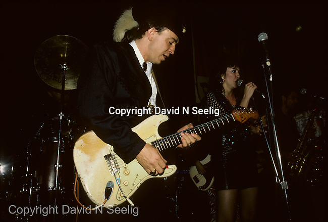 Stevie Ray Vaughn and Lou Anne Barton  at the Lone Star Cafe in New York City on December 31 1987