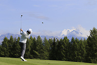 Tommy Fleetwood (ENG) plays his 2nd shot on the 12th hole during Thursday's Round 1 of the 2017 Omega European Masters held at Golf Club Crans-Sur-Sierre, Crans Montana, Switzerland. 7th September 2017.<br /> Picture: Eoin Clarke | Golffile<br /> <br /> <br /> All photos usage must carry mandatory copyright credit (&copy; Golffile | Eoin Clarke)