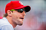 3 April 2017: Washington Nationals pitcher Max Scherzer watches from the dugout during play against the Miami Marlins on Opening Day at Nationals Park in Washington, DC. The Nationals defeated the Marlins 4-2 to open the 2017 MLB Season. Mandatory Credit: Ed Wolfstein Photo *** RAW (NEF) Image File Available ***