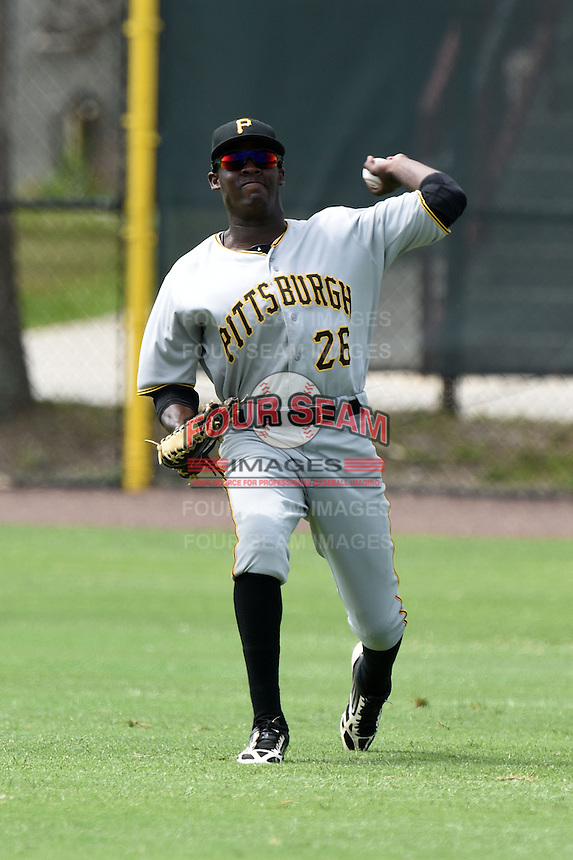 GCL Pirates outfielder Eric Thomas (26) during practice before a game against the GCL Phillies on June 26, 2014 at the Carpenter Complex in Clearwater, Florida.  GCL Phillies defeated the GCL Pirates 6-2.  (Mike Janes/Four Seam Images)