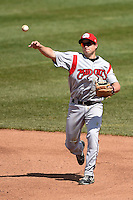 Carolina Mudcats third baseman Todd Hankins (8) warmup throw to first during a game against the Frederick Keys on April 26, 2014 at Harry Grove Stadium in Frederick, Maryland.  Carolina defeated Frederick 4-2.  (Mike Janes/Four Seam Images)