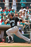 The Coastal Carolina University Chanticleers DH Adam Rice #29 at bat during the 2nd and deciding game of the NCAA Super Regional vs. the University of South Carolina Gamecocks on June 13, 2010 at BB&T Coastal Field in Myrtle Beach, SC.  The Gamecocks defeated Coastal Carolina 10-9 to advance to the 2010 NCAA College World Series in Omaha, Nebraska. Photo By Robert Gurganus/Four Seam Images