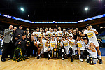 LOS ANGELES - MAY 5:  The Long Beach State 49ers pose for a team photo after winning the Division 1 Men's Volleyball Championship against the UCLA Bruins on May 5, 2018 at Pauley Pavilion in Los Angeles, California. The Long Beach State 49ers defeated the UCLA Bruins 3-2. (Photo by John W. McDonough/NCAA Photos via Getty Images)