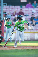 Eugene Emeralds right fielder Jonathan Sierra (22) starts down the first base line during a Northwest League game against the Salem-Keizer Volcanoes at Volcanoes Stadium on August 31, 2018 in Keizer, Oregon. The Eugene Emeralds defeated the Salem-Keizer Volcanoes by a score of 7-3. (Zachary Lucy/Four Seam Images)