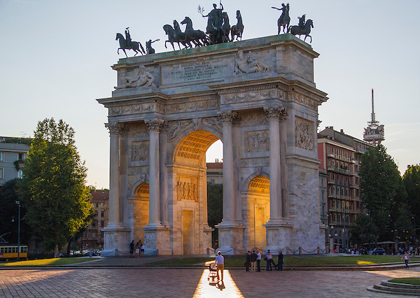 Father and baby stroller at Arco della Pace, Milan, Italy,