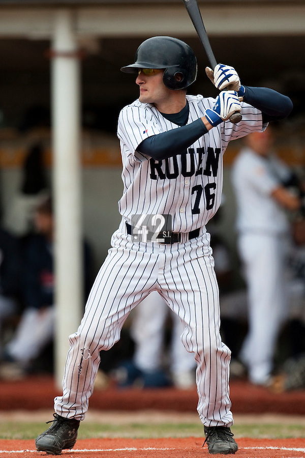 03 october 2009: Jordan Bert of Rouen is seen at bat during game 1 of the 2009 French Elite Finals won 6-5 by Rouen over Savigny in the 11th inning, at Stade Pierre Rolland stadium in Rouen, France.