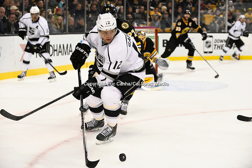 January 31, 2015 - Boston, Massachusetts, U.S. - Los Angeles Kings right wing Marian Gaborik (12) in game action during the second period of the NHL game between the Los Angeles Kings and the Boston Bruins held at TD Garden in Boston Massachusetts.  Eric Canha/CSM