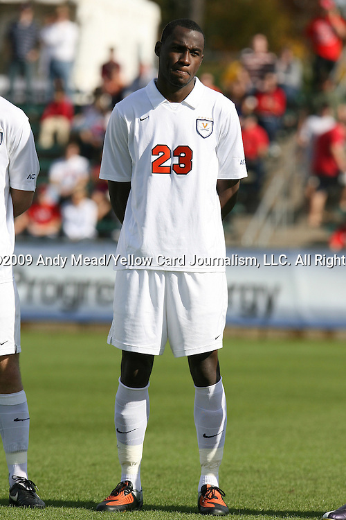 15 November 2009: Virginia's Tony Tchani. The University of Virginia Cavaliers defeated the North Carolina State University Wolfpack at WakeMed Stadium in Cary, North Carolina in the Atlantic Coast Conference Men's Soccer Tournament Championship game.