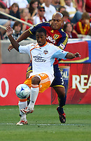 Corey Ashe, Robbie Russell in the Real Salt Lake v Houston 0-0 draw win at Rio Tinto Stadium in Sandy, Utah on August 15, 2009