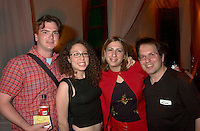 June 4 2002, Montreal, Quebec, Canada<br /> <br /> Steve Burns (L) and guest Anne Lang (M-L), from Just For Laugh Festival, Stuart Nulman, host, CJAD 800 AM (R) and guest Tara Silver (M-R)<br /> enjoy a party at ilume club, in Montreal, JUne 4, 2002 after the opening of Mark  McKinney's play ; Fully Committed.<br /> <br /> Formelly of The Kids In The Hall Canadian TV show, McKinney now based in New York, plays in movies and TV series such as DICE, Brain Candy, ... as well as doing comedy and theater.<br /> <br /> Mandatory Credit: Photo by Pierre Roussel- Images Distribution. (©) Copyright 2002 by Pierre Roussel <br /> <br /> NOTE :l Nikon D-1 jpeg opened with Qimage icc profile, saved in Adobe 1998 RGB.