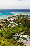 FRENCH POLYNESIA, Moorea Island. View of the Intercontinental Moorea Resort and Spa from above.