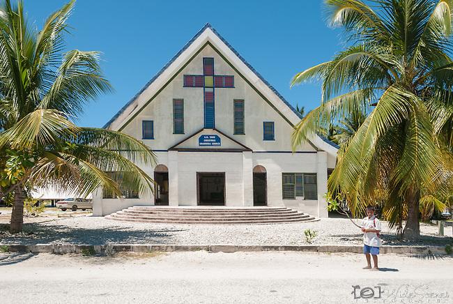 A church on the remote island of Kiritimati in Kiribati