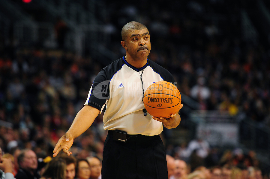 Dec. 26, 2011; Phoenix, AZ, USA; NBA referee Tony Brothers during Phoenix Suns against the New Orleans Hornets at the US Airways Center. The Hornets defeated the Suns 85-84. Mandatory Credit: Mark J. Rebilas-USA TODAY Sports