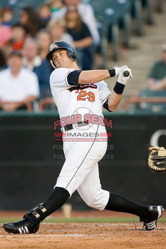Jeff Nettles (29) of the Bowie Baysox swings and misses at Prince Georges Stadium in Bowie, MD, Tuesday June 17, 2008.