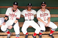 Birmingham Barons Danny Hayes, Jacob May and Chris Curley in the dugout before the 20th Annual Rickwood Classic Game against the Jacksonville Suns on May 27, 2015 at Rickwood Field in Birmingham, Alabama.  Jacksonville defeated Birmingham by the score of 8-2 at the countries oldest ballpark, Rickwood opened in 1910 and has been most notably the home of the Birmingham Barons of the Southern League and Birmingham Black Barons of the Negro League.  (Mike Janes/Four Seam Images)