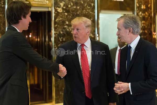 Following their meeting President-elect Trump and LVHM Fashion's Alexandre and Bernard Arnault spoke with the press in the lobby of Trump Tower in New York, NY, USA on January, 9, 2017. <br /> Credit: Albin Lohr-Jones / Pool via CNP /MediaPunch