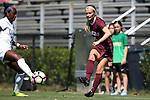 04 September 2016: Minnesota's Maddie Gaffney (15) and Duke's Toni Payne (left). The Duke University Blue Devils hosted the University of Minnesota Golden Gophers at Koskinen Stadium in Durham, North Carolina in a 2016 NCAA Division I Women's Soccer match. Duke won the game 1-0.