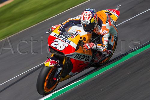 26th August 2017, Silverstone Circuit, Northamptonshire, England; British MotoGP, Qualifying; Repsol Honda Team MotoGP rider Dani Pedrosa in the sunshine at Silverstone during qualifying
