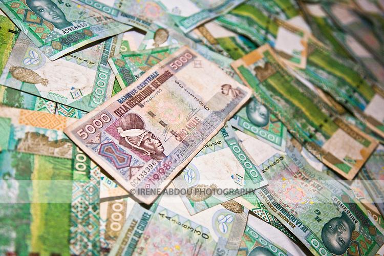 10,000 GNF bills (Guinean francs)
