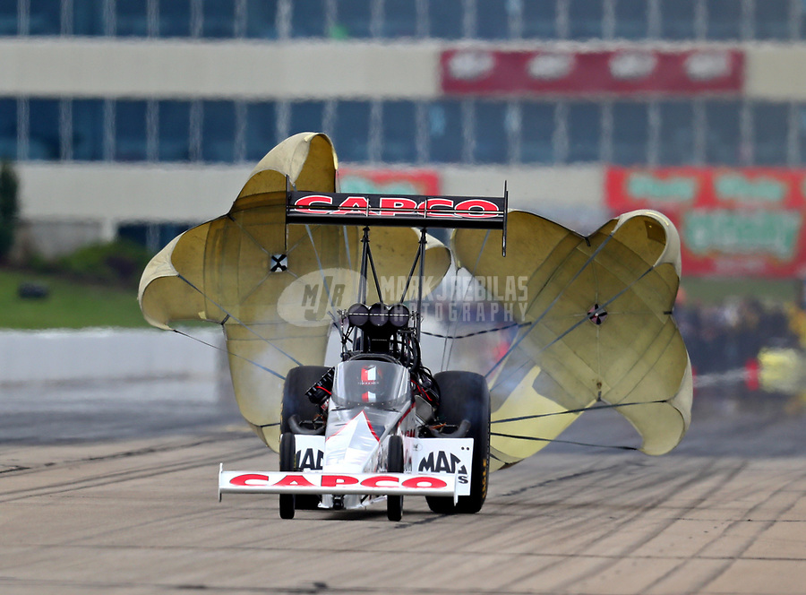 May 20, 2017; Topeka, KS, USA; NHRA top fuel driver Steve Torrence during qualifying for the Heartland Nationals at Heartland Park Topeka. Mandatory Credit: Mark J. Rebilas-USA TODAY Sports