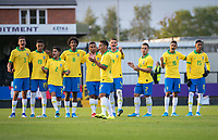 Brasil players after an England penalty is saved during the Under 18 International friendly match between England U18 & Brazil U18 at Hednesford Town Football Club, Keys Park, Cannock on 8 September 2019. Photo by Andy Rowland.