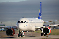 A Scandinavian Airlines Airbus A320-251N Registration SE-ROC named Torarin Viking at Manchester Airport on 11.2.19 going to Stockholm Arlanda Airport, Sweden.