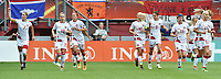 20170806 - ENSCHEDE , NETHERLANDS : Danish players celebrating their opening goal  pictured during the female soccer game between The Netherlands and Denmark  , the final at the Women's Euro 2017 , European Championship in The Netherlands 2017 , Sunday 6th of August 2017 at Grolsch Veste Stadion FC Twente in Enschede , The Netherlands PHOTO SPORTPIX.BE | DIRK VUYLSTEKE