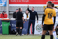 Havant and Waterlooville Manager, Lee Bradbury, has a disagreement with referee, Josh Smith, in the first half during Maidstone United vs Havant and Waterlooville, Vanarama National League Football at the Gallagher Stadium on 9th March 2019