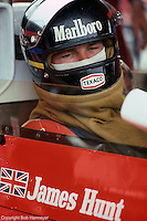 ANDERSTORP - JUNE 13: James Hunt waits to drive his McLaren M23 8-2/Ford Cosworth during practice for the 1976 Grand Prix of Sweden on June 13, 1976, at Scandinavian Raceway near Anderstorp, Sweden.