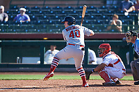 Surprise Saguaros designated hitter John Nogowski (40), of the St. Louis Cardinals organization, at bat in front of catcher Chad Tromp (55) during an Arizona Fall League game against the Scottsdale Scorpions on October 27, 2017 at Scottsdale Stadium in Scottsdale, Arizona. The Scorpions defeated the Saguaros 6-5. (Zachary Lucy/Four Seam Images)