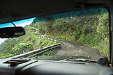 USA, Hawaii, The Big Island, driving up the steep grade road out from the Waipio Valley floor