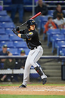 Akron RubberDucks shortstop Yu-Cheng Chang (6) at bat during a game against the Binghamton Rumble Ponies on May 12, 2017 at NYSEG Stadium in Binghamton, New York.  Akron defeated Binghamton 5-1.  (Mike Janes/Four Seam Images)