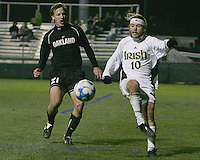 Ian Daniel #21 of Oakland and Joseph Lapira #10 of Notre Dame go after a loose ball. The University of Notre Dame defeated Oakland University 2-1 in the second round of the NCAA championship at Alumni Field at the University of Notre Dame in South Bend, Indiana on November 28, 2007.