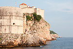 Fort Bokar and the city wall of Dubrovnik, Croatia right on the Adriatic Sea.