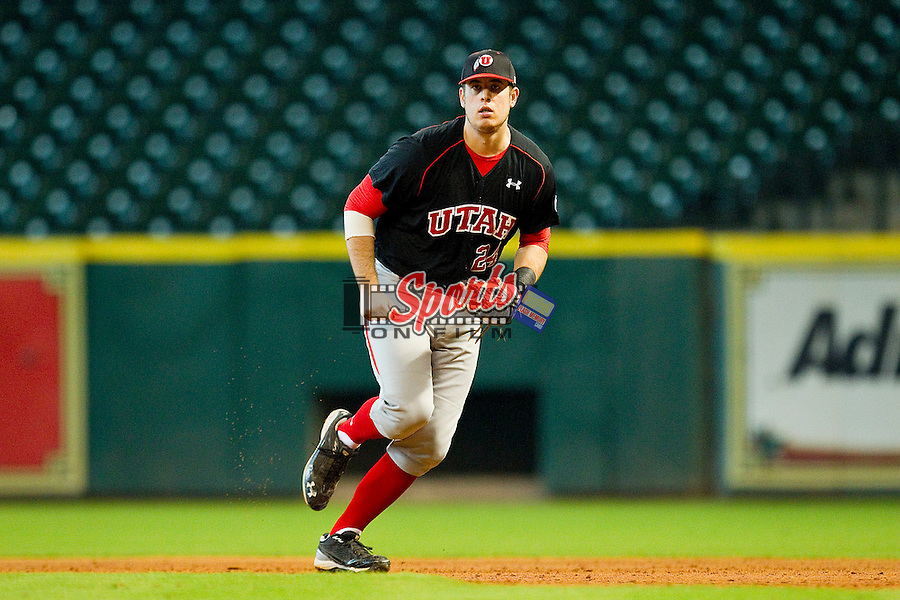 First baseman C.J. Cron #24 of the Utah Utes on defense against the Baylor Bears at Minute Maid Park on March 5, 2011 in Houston, Texas.  Photo by Brian Westerholt / Four Seam Images