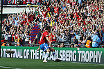 LONDON, ENGLAND - MAY 12: York City's Matty Blair celebrates his opening goal with the York City fans in the FA Carlsberg Trophy Final between York City and Newport County at Wembley Stadium on May 12, 2012 in London, England. (Photo by Dave Horn - Extreme Aperture Photography)