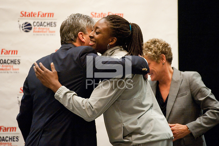 INDIANAPOLIS, IN - APRIL 2, 2011: Nnemkadi Ogwumike receives the WBCA All-American honor at the Westin hotel during the NCAA Final Four in Indianapolis, IN on April 1, 2011.