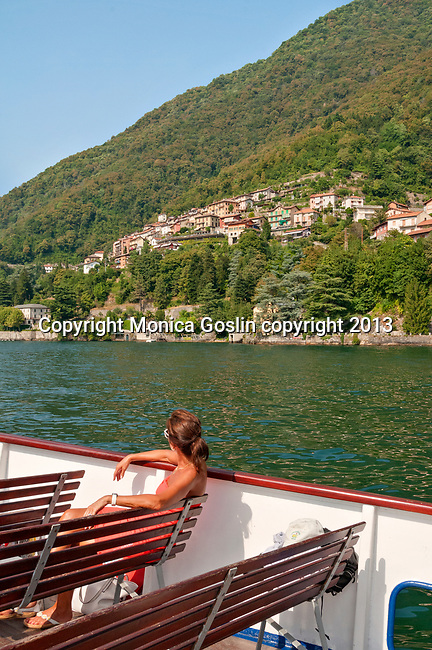 Riding the ferry boat on Lake Como, Italy