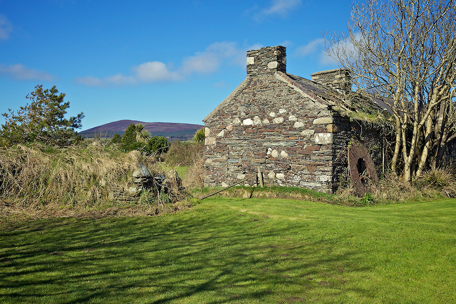 Abandoned Cottage With South Barrule Visible To The Rear, Isle of Man.