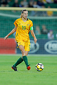 26th March 2018, nib Stadium, Perth, Australia; Womens International football friendly, Australia Women versus Thailand Women; Emily van Egmond of the Matildas passes the ball during the first half