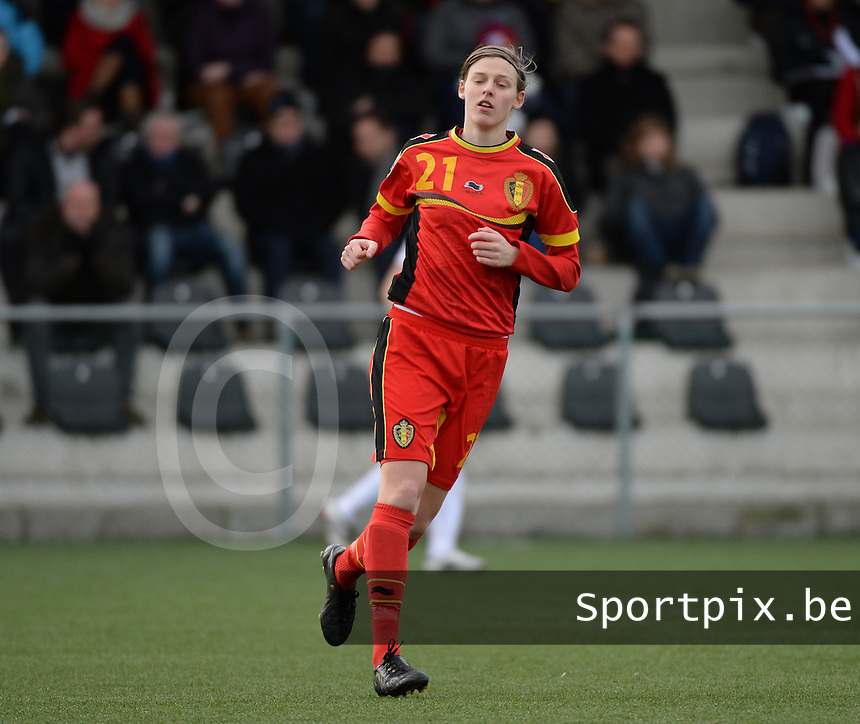 20140208 - OOSTAKKER , BELGIUM : Belgian Yana Daniels pictured during a friendly soccer match between the women teams of Belgium and Poland , Saturday 8 February 2014 in Oostakker. PHOTO DAVID CATRY