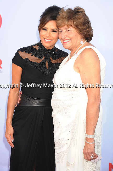 PASADENA, CA - SEPTEMBER 16: Eva Longoria and Ella Eva Mireles arrive at the 2012 NCLR ALMA Awards at Pasadena Civic Auditorium on September 16, 2012 in Pasadena, California.