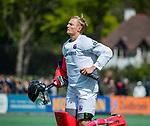 BLOEMENDAAL - keeper Maurits Visser (Bldaal)     tijdens de hoofdklasse competitiewedstrijd hockey heren,  Bloemendaal-Den Bosch (2-1) COPYRIGHT KOEN SUYK
