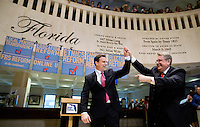 TALLAHASSEE, FLA. 5/3/13-SESSIONEND050313CH-House Speaker Will Weatherford, R-Wesley Chapel, left, and Sen. Senate President Don Gaetz, R-Niceville, celebrate the close of 2013 legislative session May 3, 2013 at the Capitol in Tallahassee...COLIN HACKLEY PHOTO