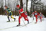 11 MAR 2011: Miles Havlick (1) of the University of Utah and Erik Bjornsen of the University of Alaska - Anchorage lead the pack during the men's 20km Classical Cross Country race during the 2011 NCAA Men and Women's Division I Skiing Championship held Stowe Mountain Resort and Trapp Family Lodge in Stowe, VT. Bjornsen placed second to take silver, Havlick placed 6th. ©Brett Wilhelm/NCAA Photos